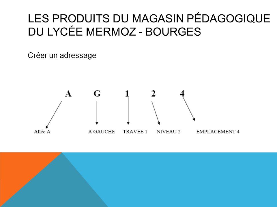 Créer un adressage LES PRODUITS DU MAGASIN PÉDAGOGIQUE DU LYCÉE MERMOZ - BOURGES
