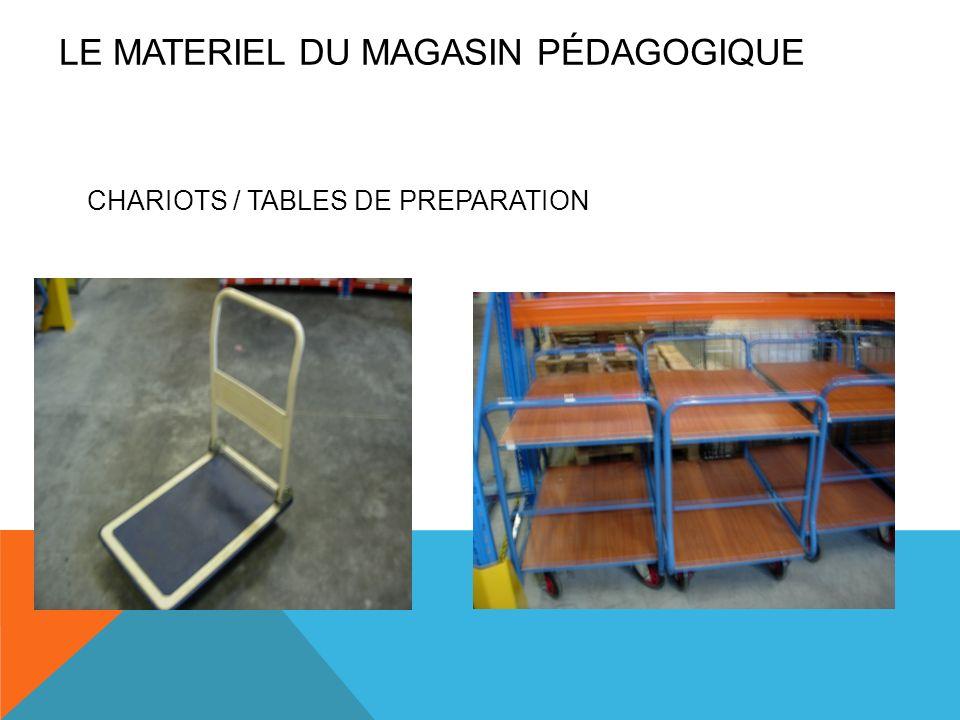 CHARIOTS / TABLES DE PREPARATION LE MATERIEL DU MAGASIN PÉDAGOGIQUE