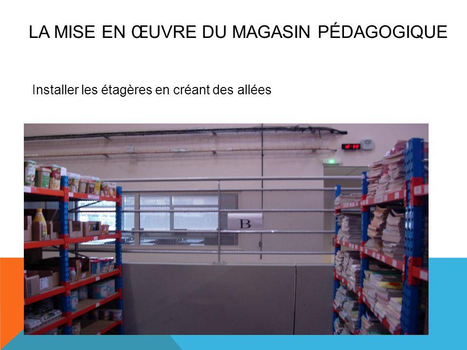Installer les étagères en créant des allées LA MISE EN ŒUVRE DU MAGASIN PÉDAGOGIQUE