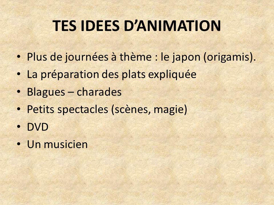 TES IDEES DANIMATION Plus de journées à thème : le japon (origamis). La préparation des plats expliquée Blagues – charades Petits spectacles (scènes,