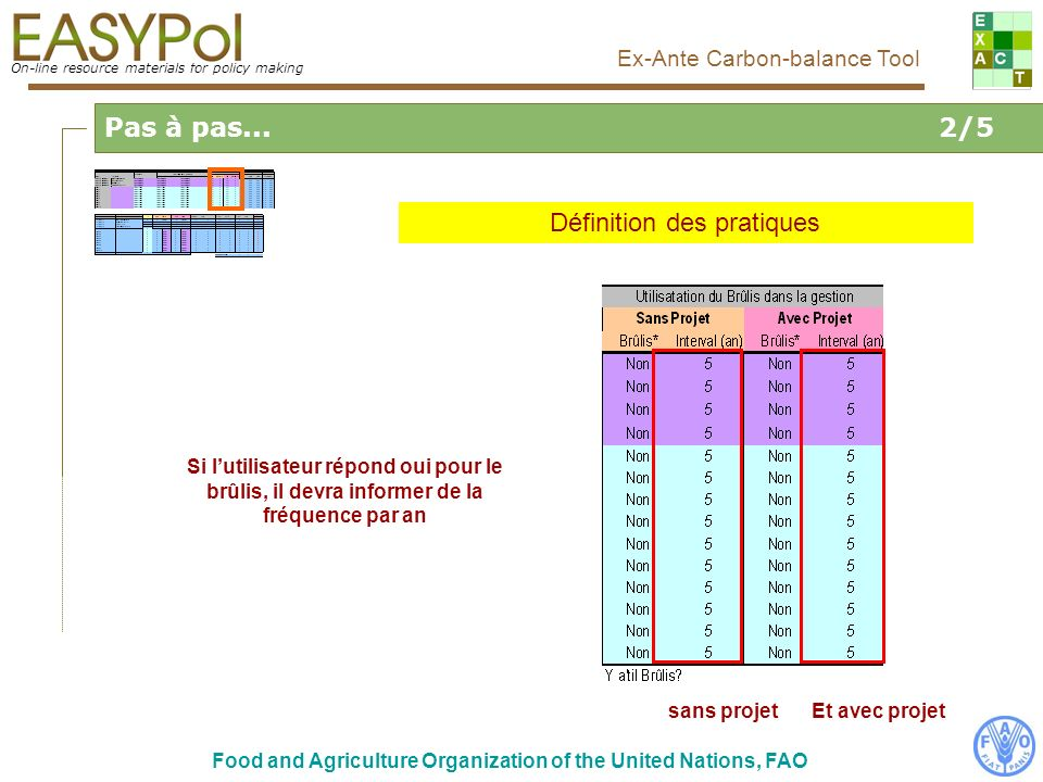 On-line resource materials for policy making Ex-Ante Carbon-balance Tool Food and Agriculture Organization of the United Nations, FAO Pas à pas...2/5