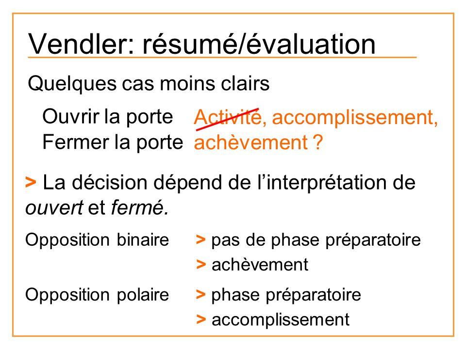 Vendler: résumé/évaluation Quelques cas moins clairs Ouvrir la porte Fermer la porte Activité, accomplissement, achèvement ? > La décision dépend de l