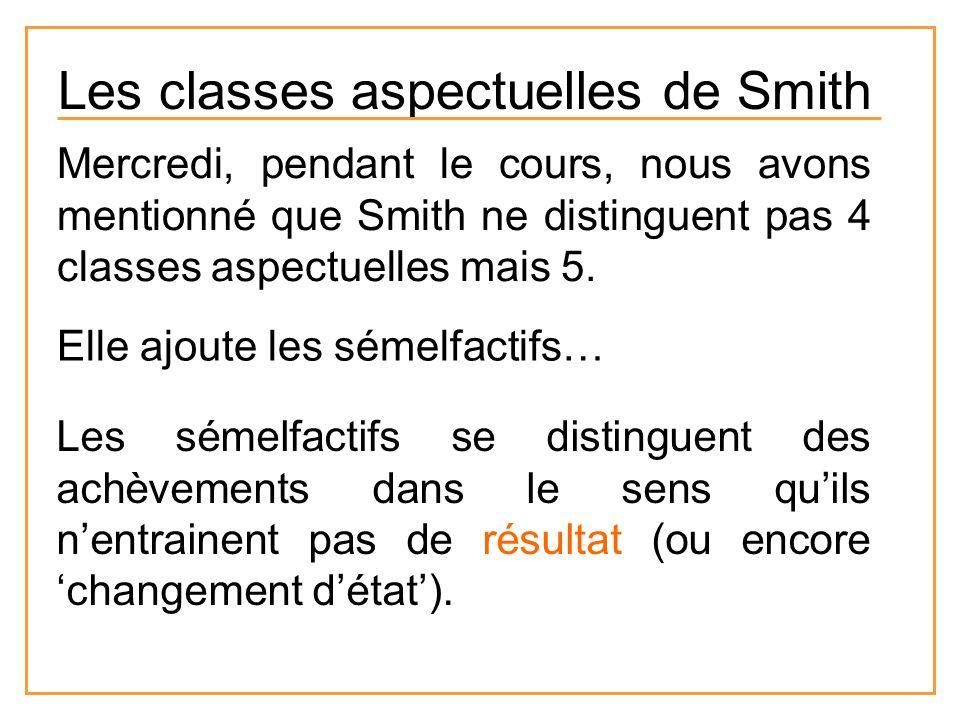 Mercredi, pendant le cours, nous avons mentionné que Smith ne distinguent pas 4 classes aspectuelles mais 5. Elle ajoute les sémelfactifs… Les sémelfa