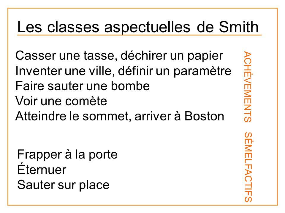 Les classes aspectuelles de Smith Casser une tasse, déchirer un papier Inventer une ville, définir un paramètre Faire sauter une bombe Voir une comète