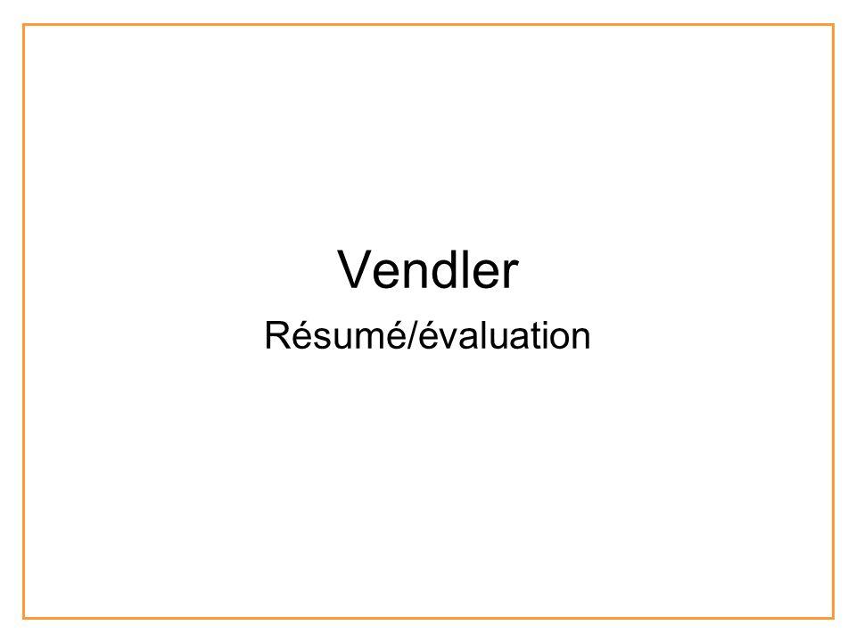 Vendler Résumé/évaluation