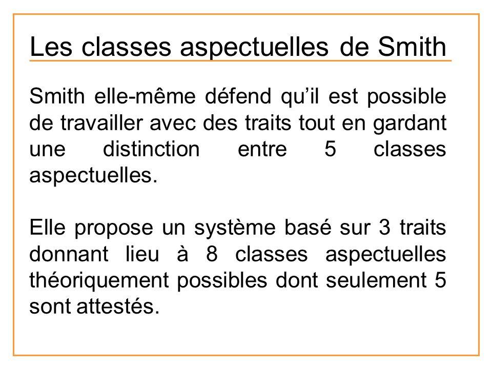 Les classes aspectuelles de Smith Smith elle-même défend quil est possible de travailler avec des traits tout en gardant une distinction entre 5 class