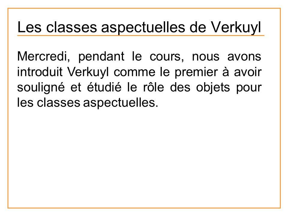 Mercredi, pendant le cours, nous avons introduit Verkuyl comme le premier à avoir souligné et étudié le rôle des objets pour les classes aspectuelles.