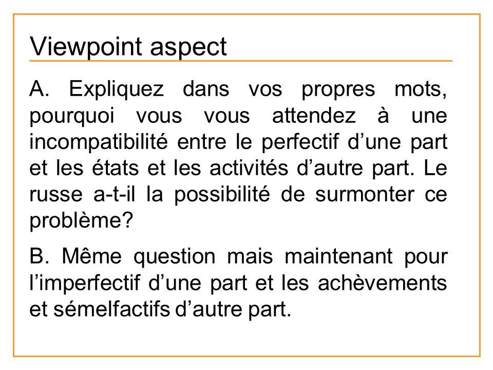 Viewpoint aspect A. Expliquez dans vos propres mots, pourquoi vous vous attendez à une incompatibilité entre le perfectif dune part et les états et le