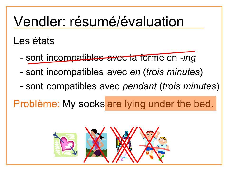 Vendler: résumé/évaluation Les états - sont incompatibles avec la forme en -ing - sont incompatibles avec en (trois minutes) - sont compatibles avec p
