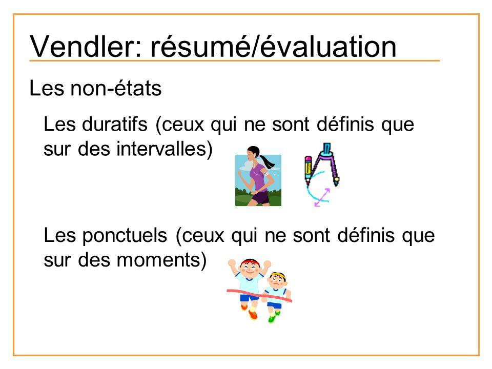 Vendler: résumé/évaluation Les non-états Les duratifs (ceux qui ne sont définis que sur des intervalles) Les ponctuels (ceux qui ne sont définis que s