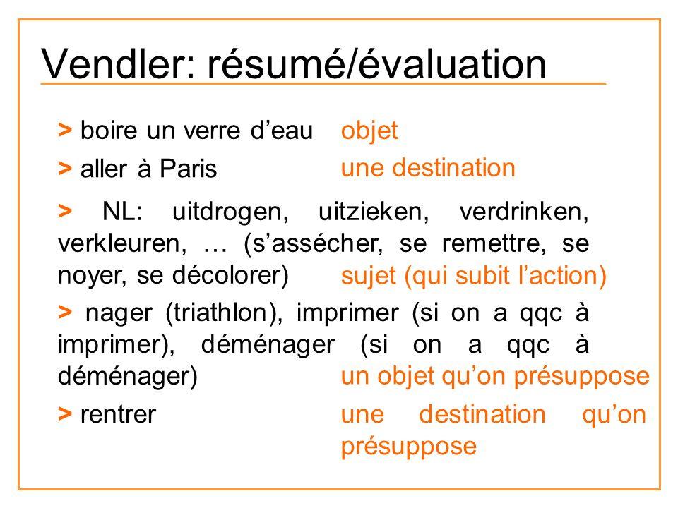 Vendler: résumé/évaluation > boire un verre deau > aller à Paris > NL: uitdrogen, uitzieken, verdrinken, verkleuren, … (sassécher, se remettre, se noy