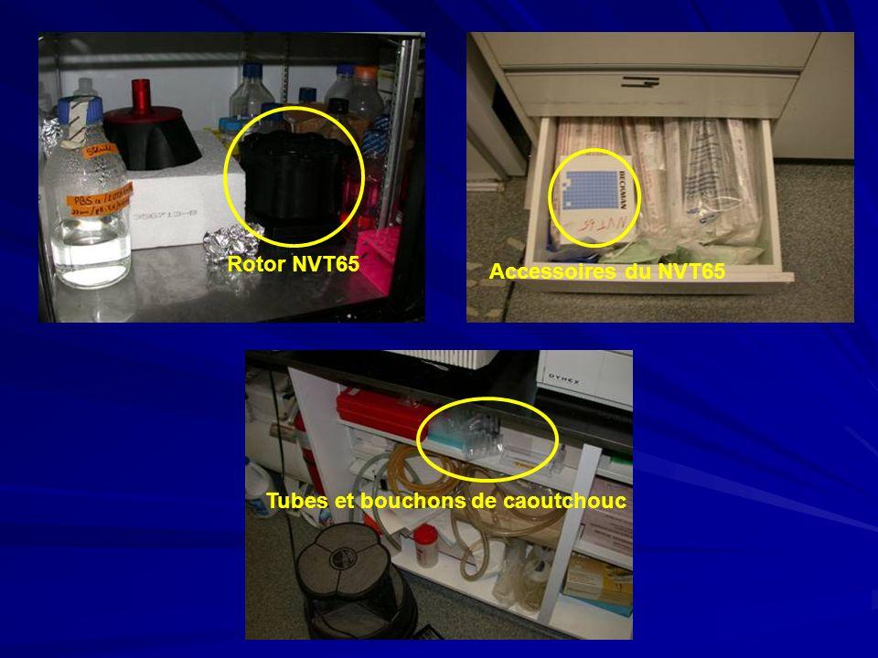 Rotor NVT65 Tubes et bouchons de caoutchouc Accessoires du NVT65