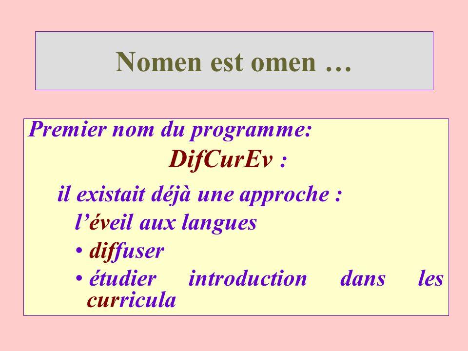 Nomen est omen … Premier nom du programme: DifCurEv : il existait déjà une approche : léveil aux langues diffuser étudier introduction dans les curric