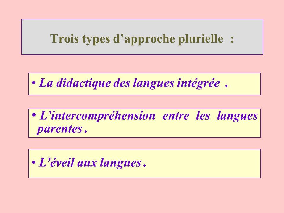 Trois types dapproche plurielle : La didactique des langues intégrée. Lintercompréhension entre les langues parentes. Léveil aux langues.