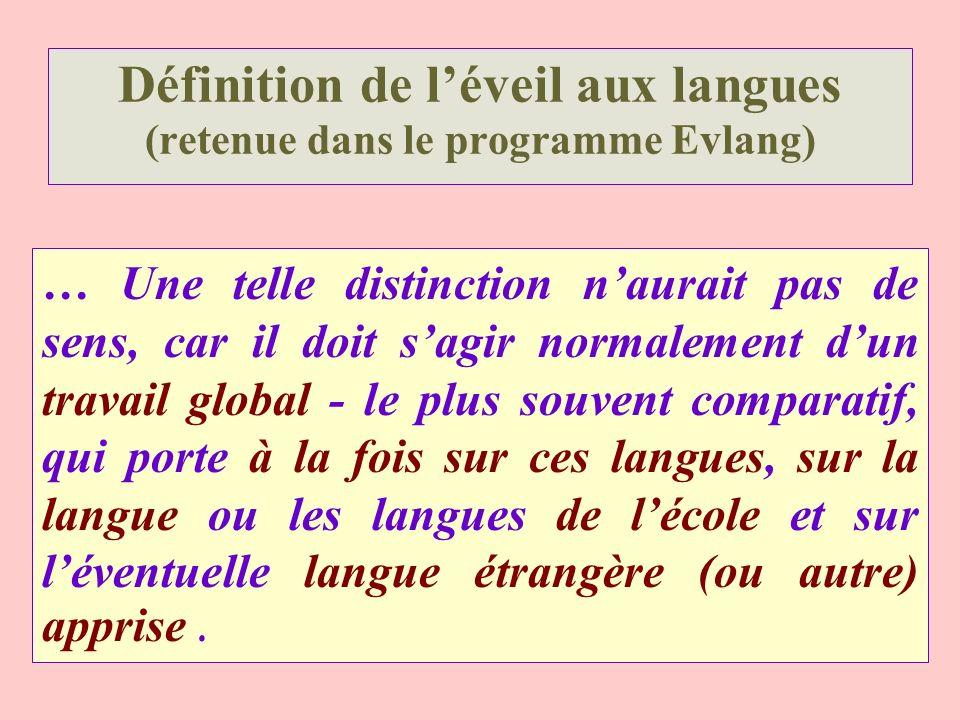 Définition de léveil aux langues (retenue dans le programme Evlang) … Une telle distinction naurait pas de sens, car il doit sagir normalement dun tra