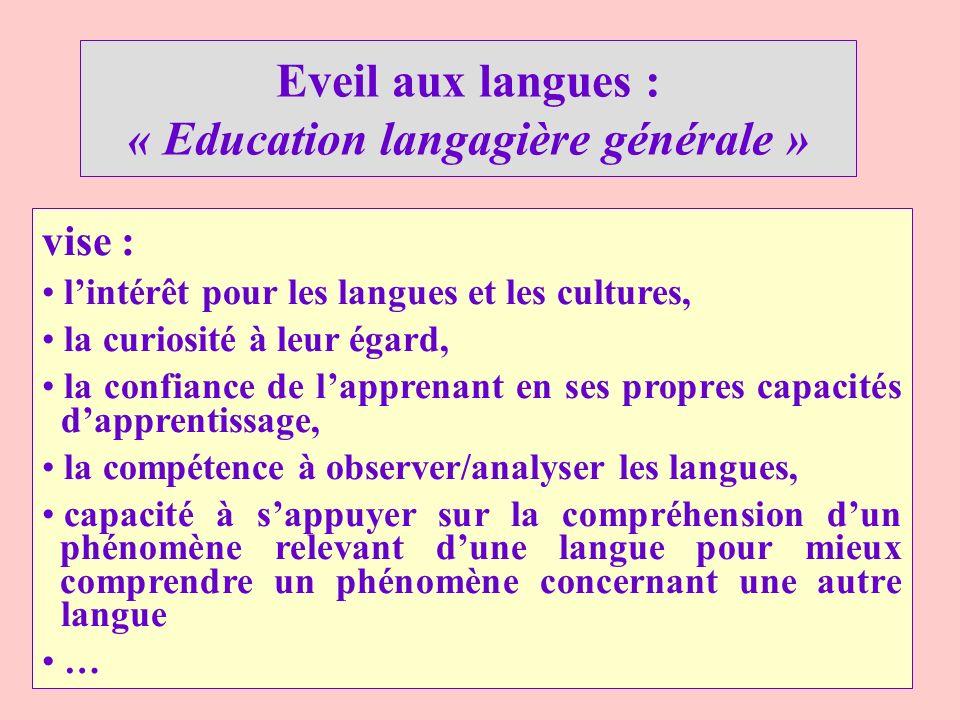 vise : lintérêt pour les langues et les cultures, la curiosité à leur égard, la confiance de lapprenant en ses propres capacités dapprentissage, la co