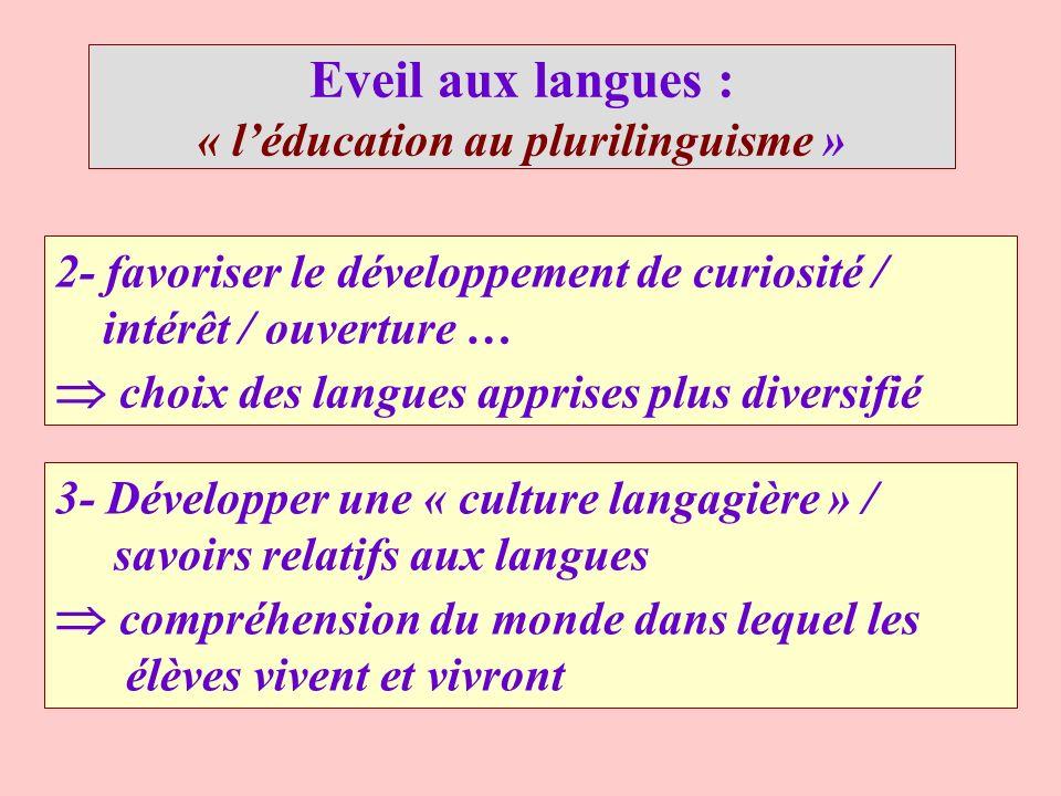 Eveil aux langues : « léducation au plurilinguisme » 2- favoriser le développement de curiosité / intérêt / ouverture … choix des langues apprises plu