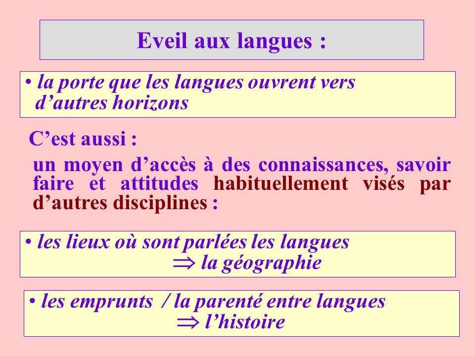 Eveil aux langues : les lieux où sont parlées les langues la géographie la porte que les langues ouvrent vers dautres horizons Cest aussi : les emprun