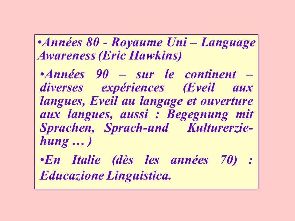 Années 80 - Royaume Uni – Language Awareness (Eric Hawkins) Années 90 – sur le continent – diverses expériences (Eveil aux langues, Eveil au langage e