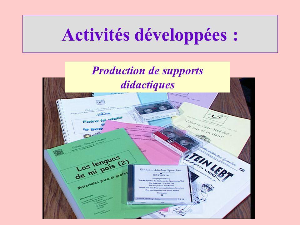 Activités développées : Production de supports didactiques