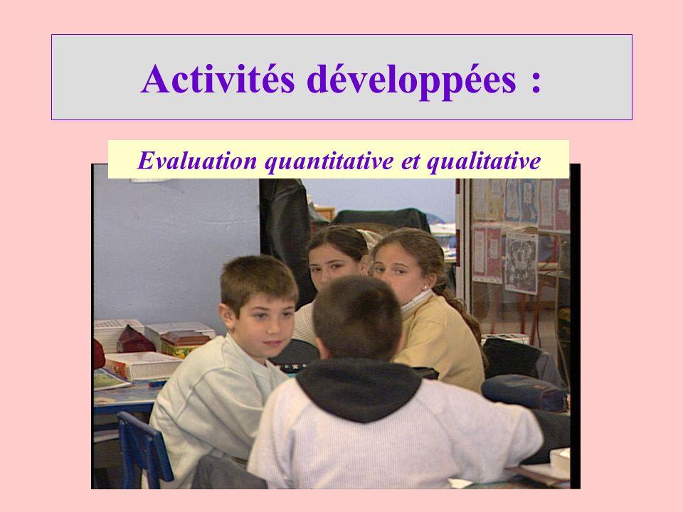 Activités développées : Evaluation quantitative et qualitative