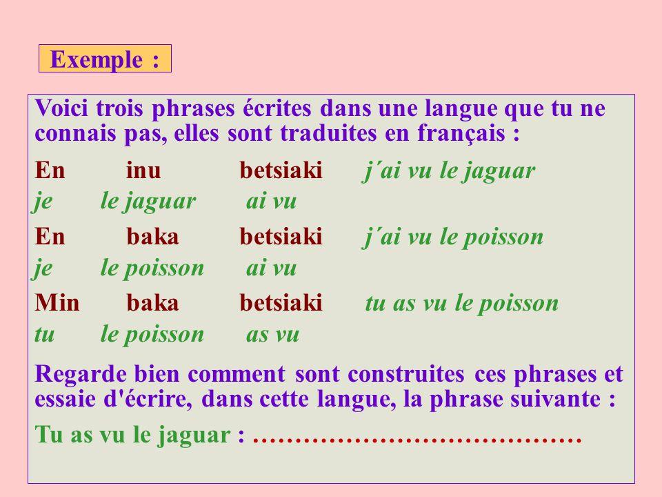 Exemple : Voici trois phrases écrites dans une langue que tu ne connais pas, elles sont traduites en français : En inu betsiakij´ai vu le jaguar je le