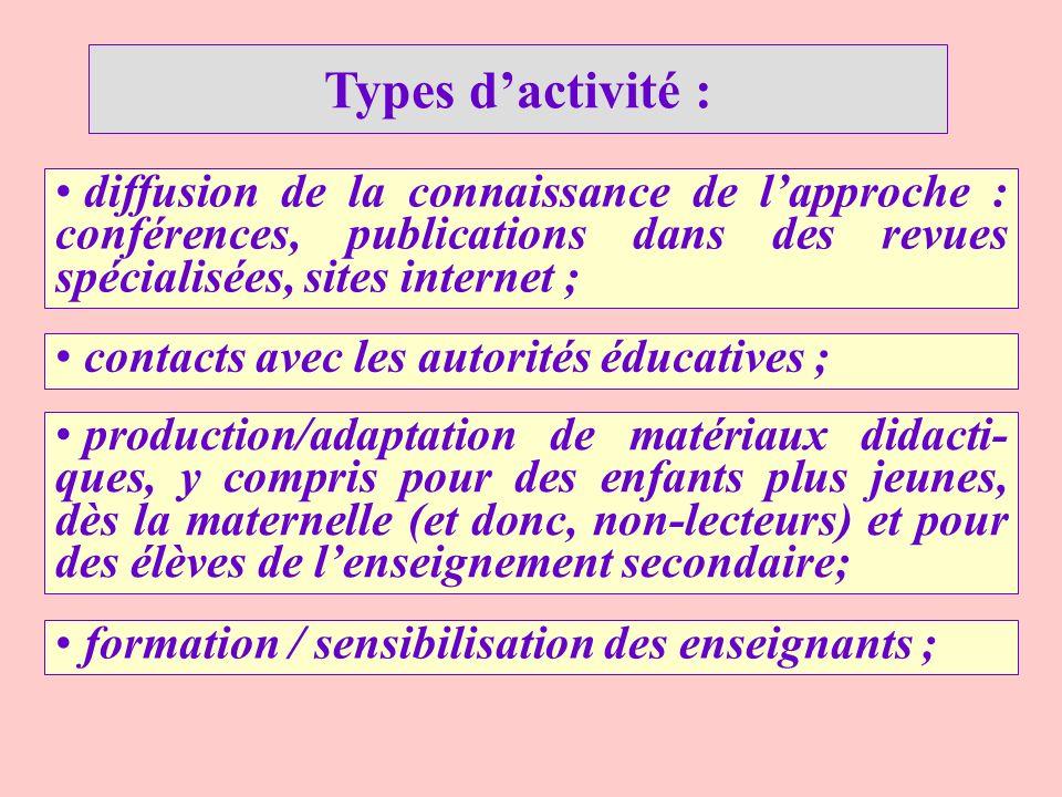 Types dactivité : contacts avec les autorités éducatives ; diffusion de la connaissance de lapproche : conférences, publications dans des revues spéci