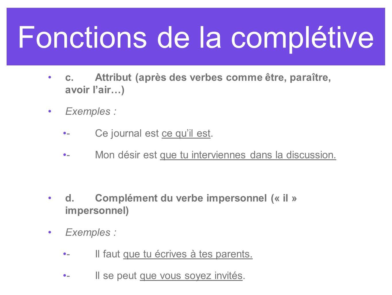 Fonctions de la complétive c.Attribut (après des verbes comme être, paraître, avoir lair…) Exemples : -Ce journal est ce quil est. -Mon désir est que