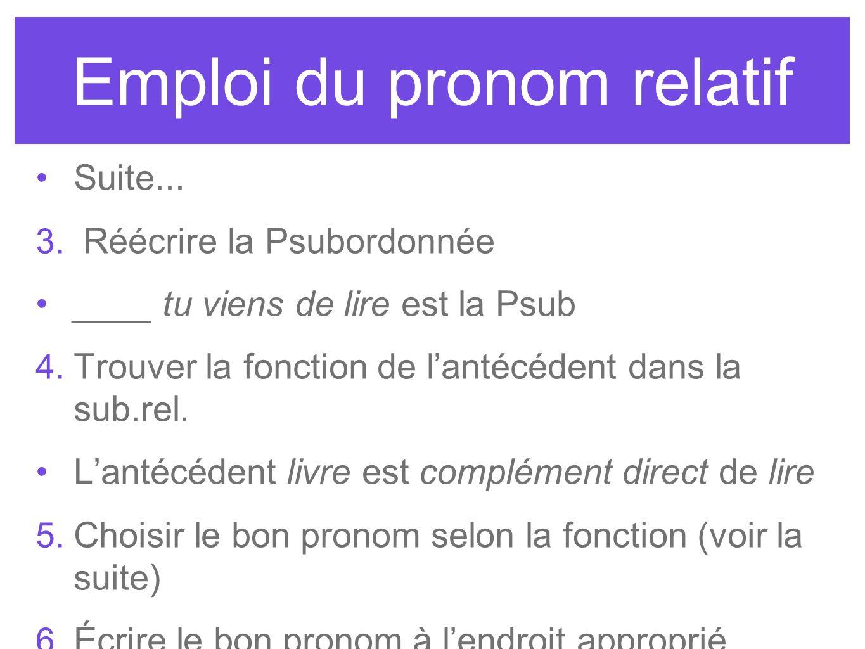Emploi du pronom relatif Suite... 3. Réécrire la Psubordonnée ____ tu viens de lire est la Psub 4. Trouver la fonction de lantécédent dans la sub.rel.