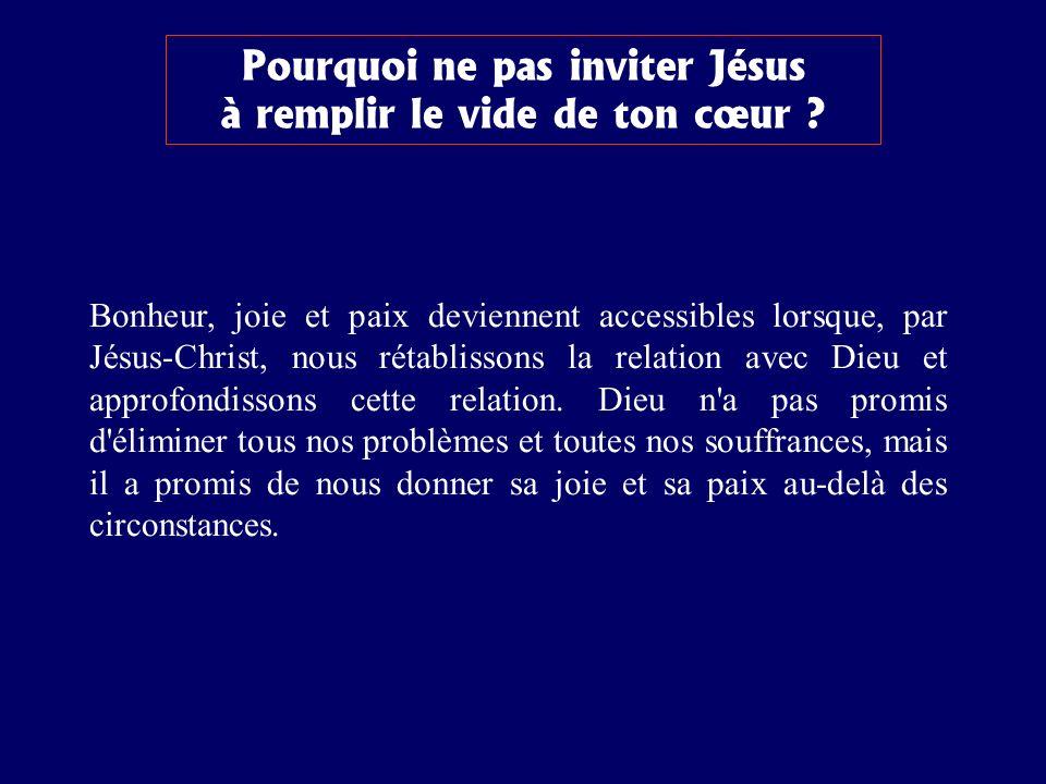 Pourquoi ne pas inviter Jésus à remplir le vide de ton cœur ? Bonheur, joie et paix deviennent accessibles lorsque, par Jésus-Christ, nous rétablisson