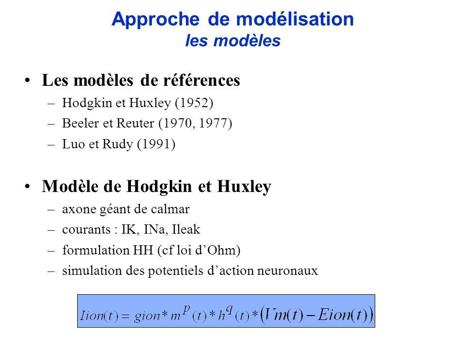 Les modèles de références –Hodgkin et Huxley (1952) –Beeler et Reuter (1970, 1977) –Luo et Rudy (1991) Modèle de Hodgkin et Huxley –axone géant de cal