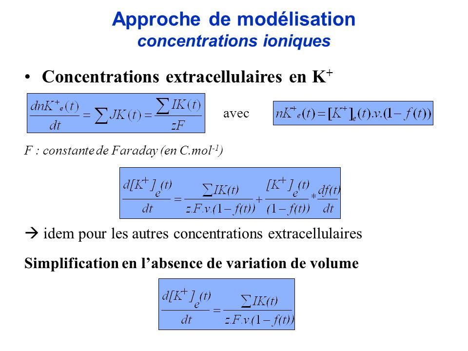 Concentrations extracellulaires en K + F : constante de Faraday (en C.mol -1 ) idem pour les autres concentrations extracellulaires Simplification en
