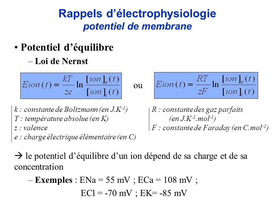 Rappels délectrophysiologie potentiel de membrane Potentiel déquilibre – Loi de Nernst le potentiel déquilibre dun ion dépend de sa charge et de sa co