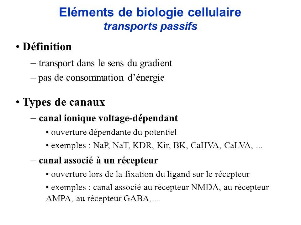 Eléments de biologie cellulaire transports actifs Définition – transport dans le sens inverse du gradient – consommation dénergie – maintien de lhoméostasie cellulaire Sources dénergie – utilisation de lATP pompe ionique = ATPase exemples : pompe Na + /K +, pompe Ca 2+, pompe Cl -,...