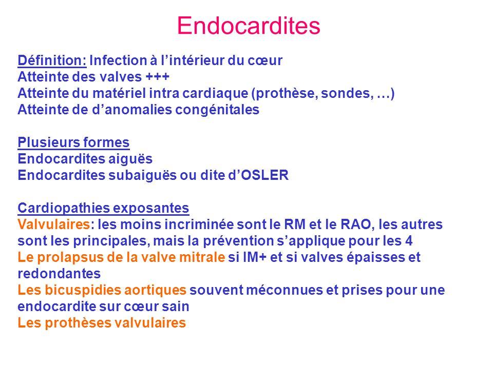 Endocardites Définition: Infection à lintérieur du cœur Atteinte des valves +++ Atteinte du matériel intra cardiaque (prothèse, sondes, …) Atteinte de