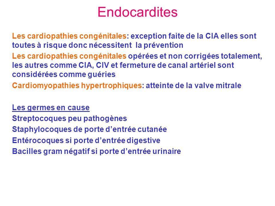 Endocardites Les cardiopathies congénitales: exception faite de la CIA elles sont toutes à risque donc nécessitent la prévention Les cardiopathies con