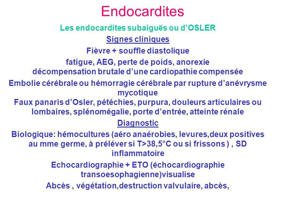 Endocardites Les endocardites subaiguës ou dOSLER Signes cliniques Fièvre + souffle diastolique fatigue, AEG, perte de poids, anorexie décompensation