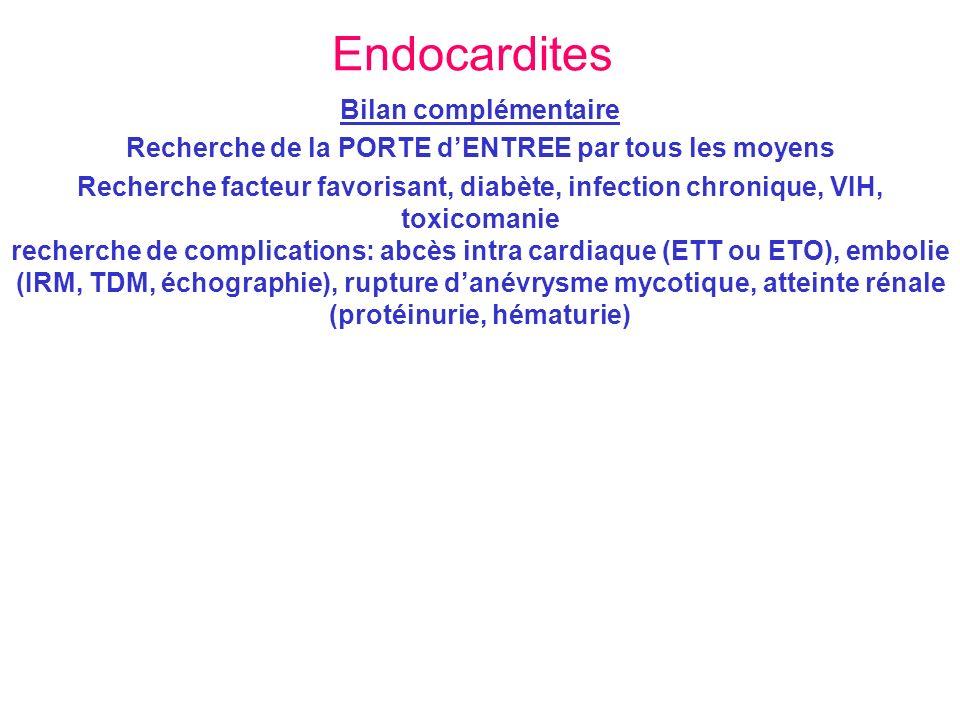 Endocardites Bilan complémentaire Recherche de la PORTE dENTREE par tous les moyens Recherche facteur favorisant, diabète, infection chronique, VIH, t