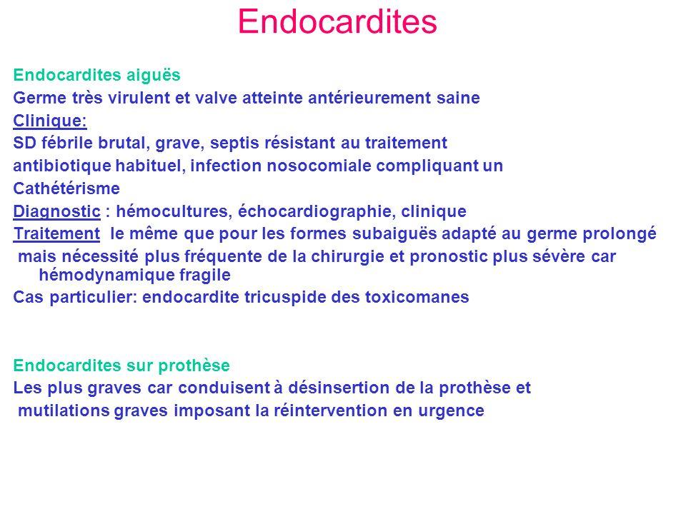 Endocardites Endocardites aiguës Germe très virulent et valve atteinte antérieurement saine Clinique: SD fébrile brutal, grave, septis résistant au tr