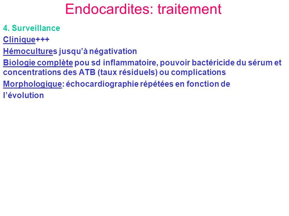 Endocardites: traitement 4. Surveillance Clinique+++ Hémocultures jusquà négativation Biologie complète pou sd inflammatoire, pouvoir bactéricide du s