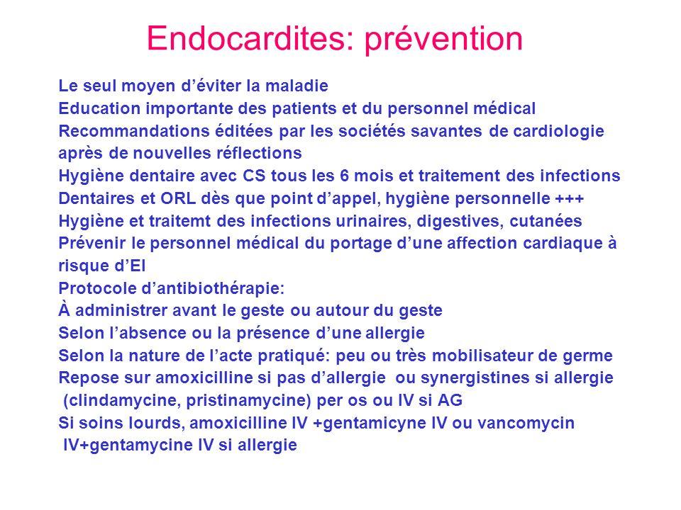 Endocardites: prévention Le seul moyen déviter la maladie Education importante des patients et du personnel médical Recommandations éditées par les so