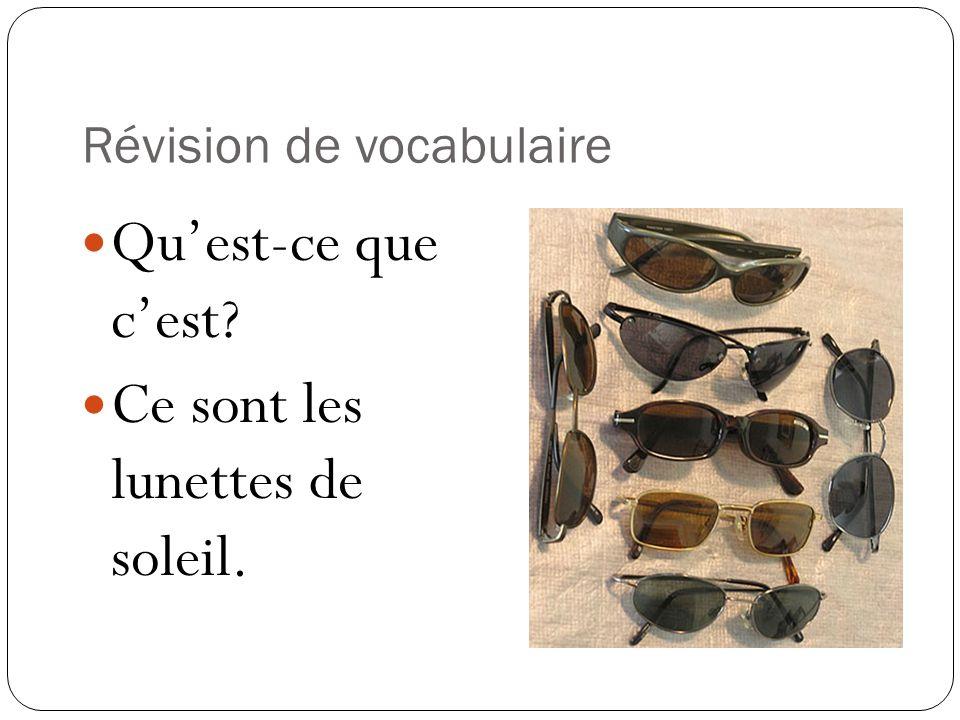 Révision de vocabulaire Quest-ce que cest? Ce sont les lunettes de soleil.