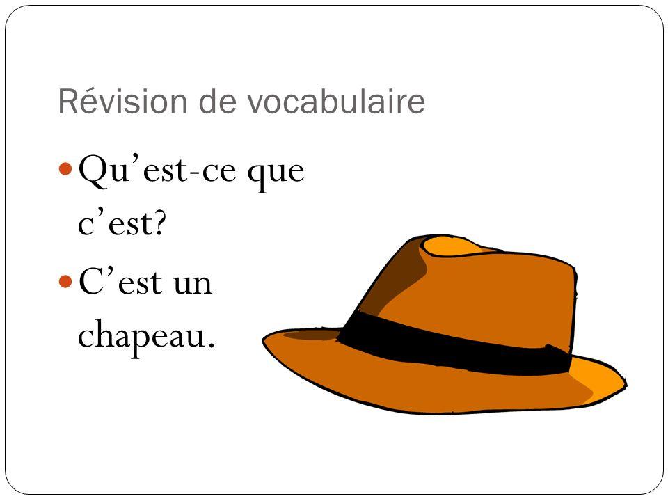Révision de vocabulaire Quest-ce que cest? Cest un chapeau.
