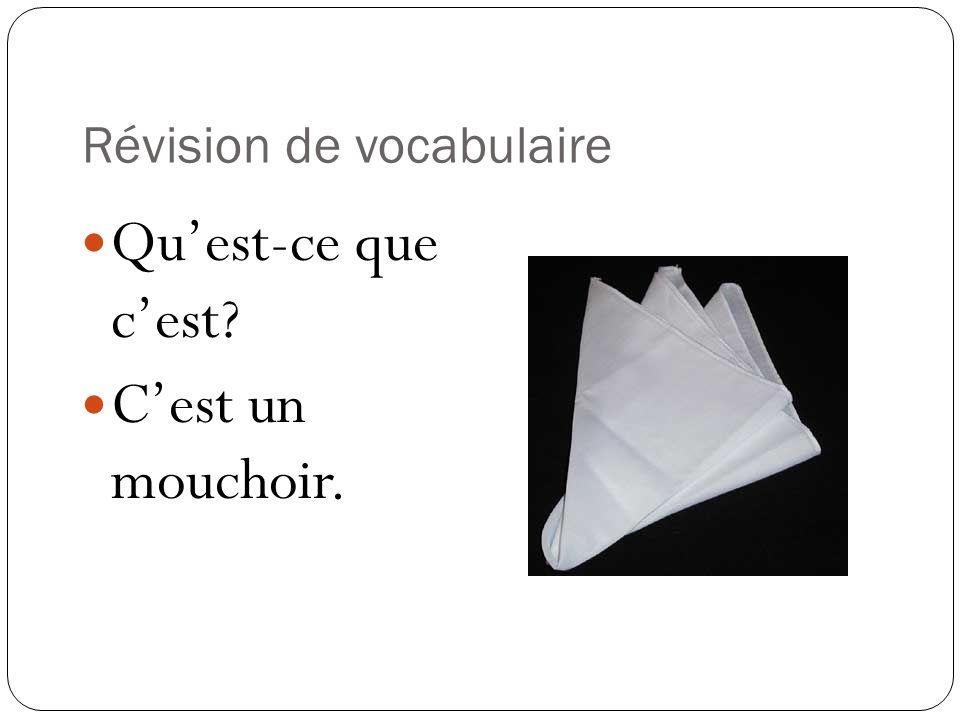 Révision de vocabulaire Quest-ce que cest? Cest un mouchoir.