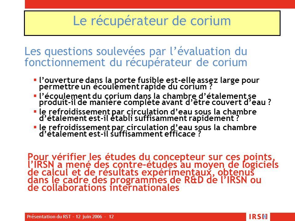 Présentation du RST – 12 juin 2006 - 12 Les questions soulevées par lévaluation du fonctionnement du récupérateur de corium louverture dans la porte f