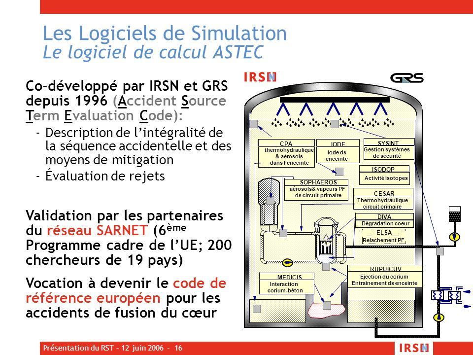 Présentation du RST – 12 juin 2006 - 16 Les Logiciels de Simulation Le logiciel de calcul ASTEC Co-développé par IRSN et GRS depuis 1996 (Accident Sou