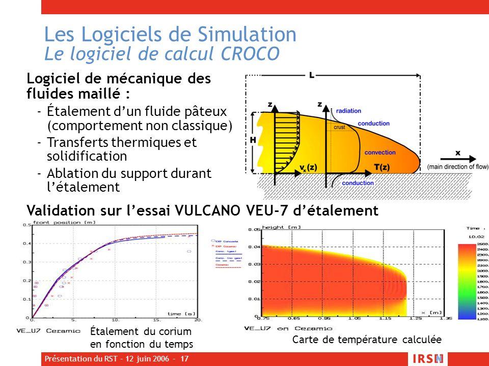 Présentation du RST – 12 juin 2006 - 17 Les Logiciels de Simulation Le logiciel de calcul CROCO Logiciel de mécanique des fluides maillé : -Étalement