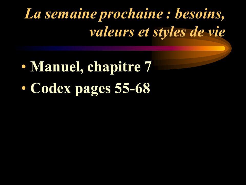 La semaine prochaine : besoins, valeurs et styles de vie Manuel, chapitre 7 Codex pages 55-68