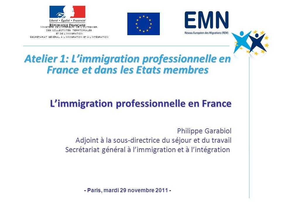 Atelier 1: Limmigration professionnelle en France et dans les Etats membres Limmigration professionnelle en France Philippe Garabiol Adjoint à la sous