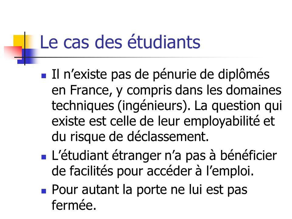 Le cas des étudiants Il nexiste pas de pénurie de diplômés en France, y compris dans les domaines techniques (ingénieurs). La question qui existe est